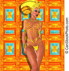 Beautiful Egyptian woman in gold
