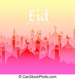 beautiful eid festival background with mosque silhouette