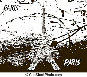 beautiful Eiffel tower ink drips of