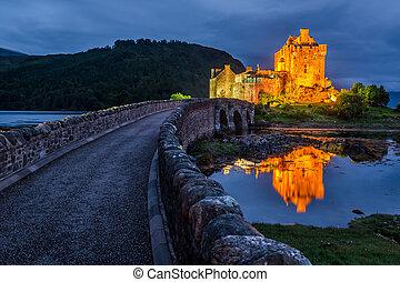 Beautiful Eilean Donan Castle after sunset, Scotland