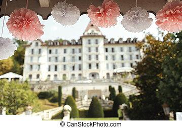 Beautiful elegant and stylish pink wedding decoration at arbor hoterl background