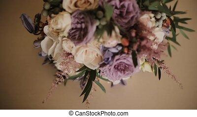 Beautiful elegant bouquet lying on the table. Fresh flower...