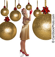 beautiful elegant girl in golden dress