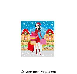 beautiful elegant girl on Christmas shopping