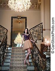 Beautiful elegant lady, luxurious