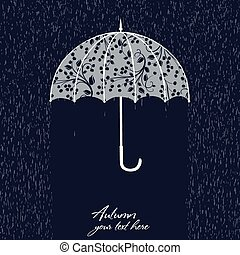 retro illustration with umbrella