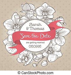 Beautiful elegant wedding invitation with orchid flowers