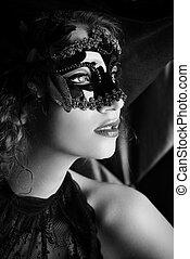 elegant - Beautiful elegant woman in carnival mask.