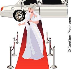Beautiful elegant woman on the red carpet