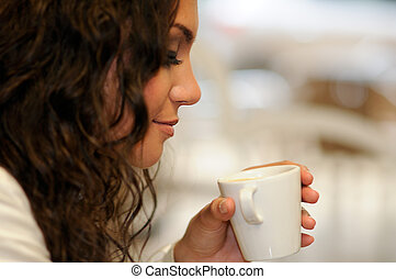 Beautiful elegant woman with coffee cup - Portrait of...