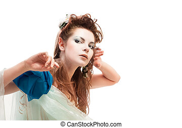 beautiful elfin girl, magic portrait of brunette woman