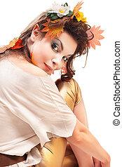 beautiful elfin girl, magic portrait of brunette woman