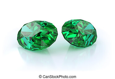 Beautiful emerald stones - Precious stones, two large,...