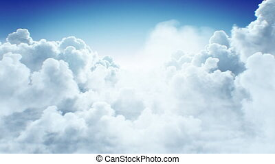 Beautiful Endless Clouds in the Daylight Skies Seamless. Looped 3d Animation Flying Above the Cumulus Clouds with No Sun. 4k Ultra HD 3840x2160