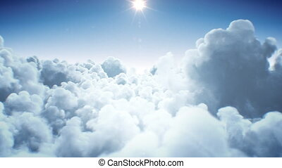 Beautiful Endless Clouds Under the Shining Bright Sun Daylight Seamless. Looped 3d Animation Flying Above the Clouds with the Afternoon Sun. 4k Ultra HD 3840x2160.