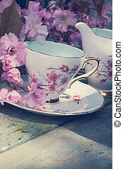 Beautiful, English, vintage teacup with Japanese cherry tree...