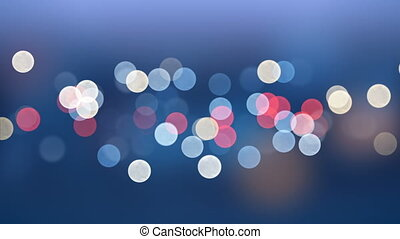 Beautiful Evening City Lights Flickering in Bokeh Effect Seamless. Looped 3d Animation of Blurred Bright Blinking Lights. 4k Ultra HD 3840x2160