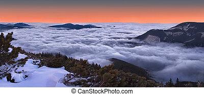 Beautiful evening landscape in the Carpathian mountains