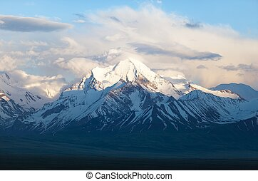 Beautiful evening view from Pamir mountain - Zaalay valley -...