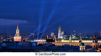 Beautiful evening view of the Kremlin in Moscow, Russia