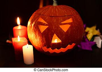 beautiful evil ghastly glowing pumpkin on a Halloween...