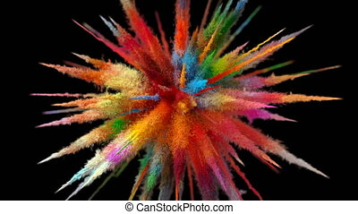 Beautiful Explosion of Multicolored Particles on a Black ...