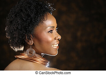 Expressive African American Woman With Dramatic Lighting -...