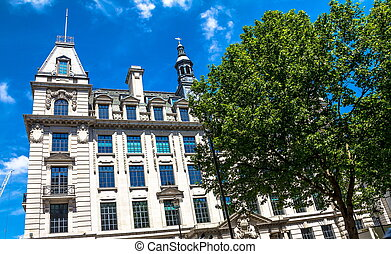 Beautiful exterior of old buildings in central London at...