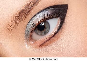 Beautiful eye with makeup.