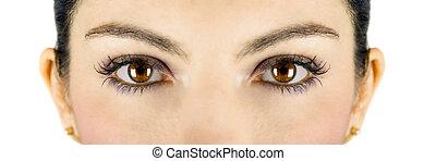 Beautiful brown woman eyes looking at you