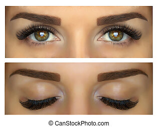 Modeling, painting and shaping eyebrows. Beautiful eyes with lashes and eyebrows. Closed and open eyes.