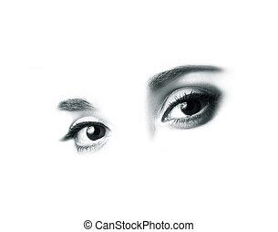 Beautiful eyes - Female beautiful eyes isolated on white