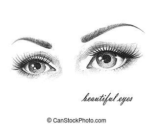 Illustration of woman eyes with long eyelashes.