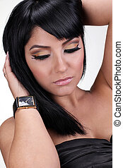 beautiful eyes makeup of brunette woman