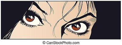 Beautiful eyes of girl. Stock illustration.