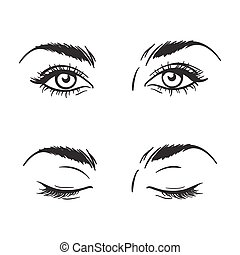 Beautiful eyes open, closed vector - Isolated black and ...