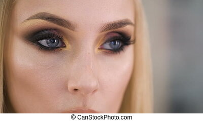 Beautiful eyes. Perfect make-up and eye shadow and lashes....