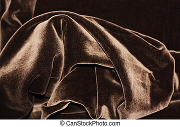 Beautiful fabric brown velvet close up view