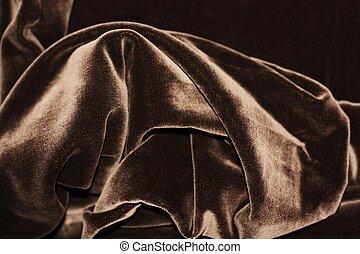 Beautiful fabric brown velvet close up view