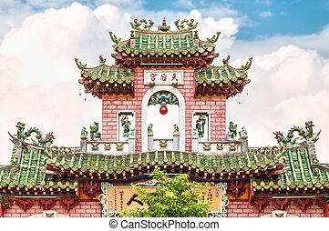 Beautiful facade of temple in Vietnam, Asia.