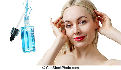Beautiful face of adult woman near blue cosmetic bottle.