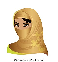 beautiful face of arabic muslim woman