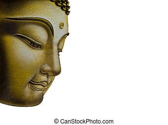 Beautiful face of Buddha image isolated on white background