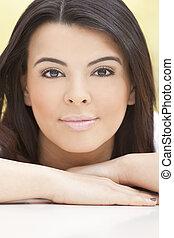 Beautiful Face of Hispanic Woman or Girl
