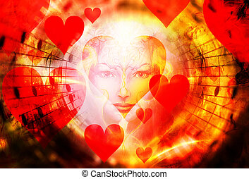 beautiful face of mystical being with music notes, hearts...