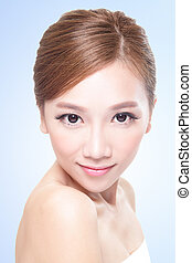 Beautiful face of young adult woman - Beautiful young adult...