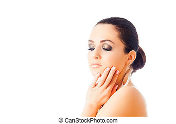 Beautiful Face of Young Woman with make up isolated