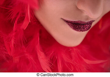 beautiful face with red boa lips close up - pretty brunette...