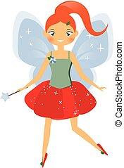 Beautiful fairy character with magic wand. Winged elf princess. Cartoon style