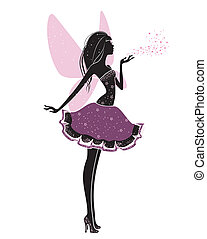 Beautiful fairy - Silhouette of a beautiful fairy isolated...